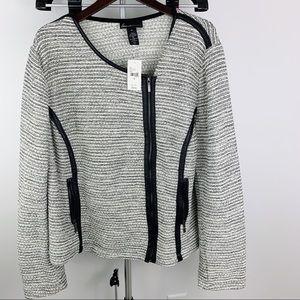NWT Lane Bryant size 26 Zip Up Grey Tweed Jacket